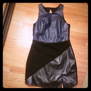Sugar Lips* Faux Leather Cut Out Back Dress M